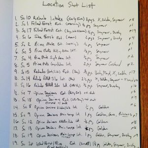 A list in handwriting of location shots